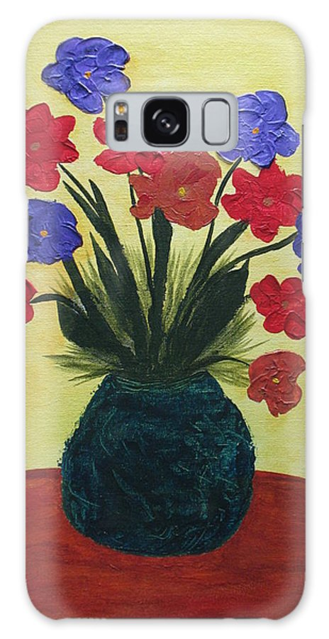 Vase Of Flowers Galaxy S8 Case featuring the painting Turquoise Vase On Yellow by Buddy Cushman