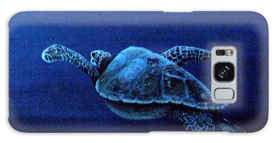 Blue Galaxy S8 Case featuring the painting Turtle In The Red Sea by Mackenzie Moulton