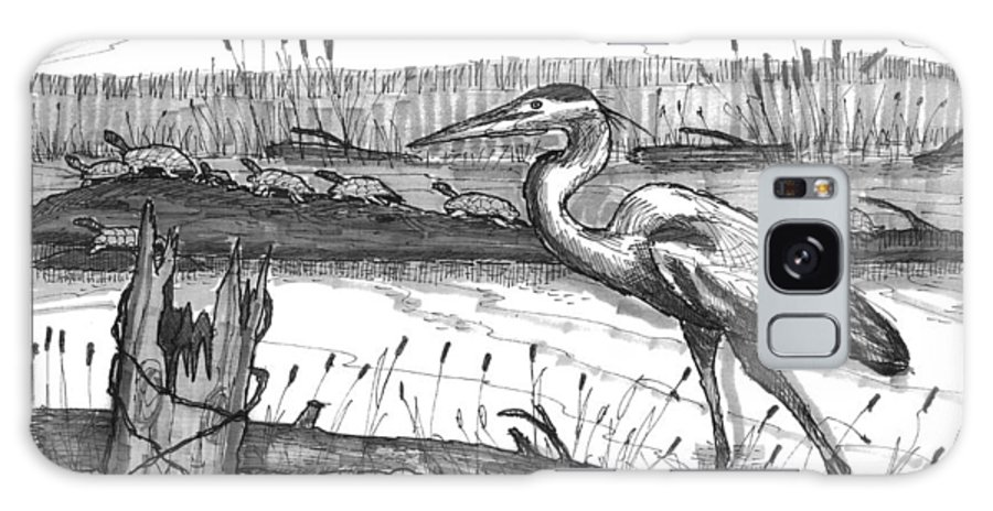 Wildlife Galaxy S8 Case featuring the drawing Turtles And Heron by Richard Wambach