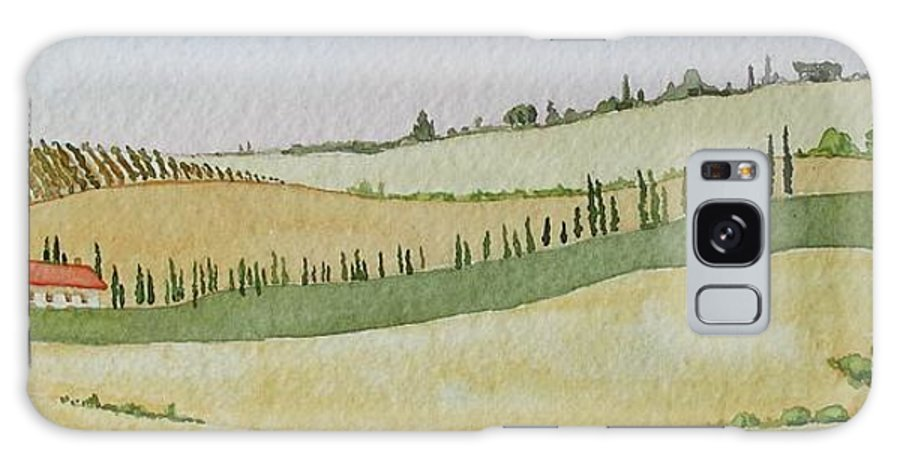 Italy Galaxy S8 Case featuring the painting Tuscan Hillside Four by Mary Ellen Mueller Legault