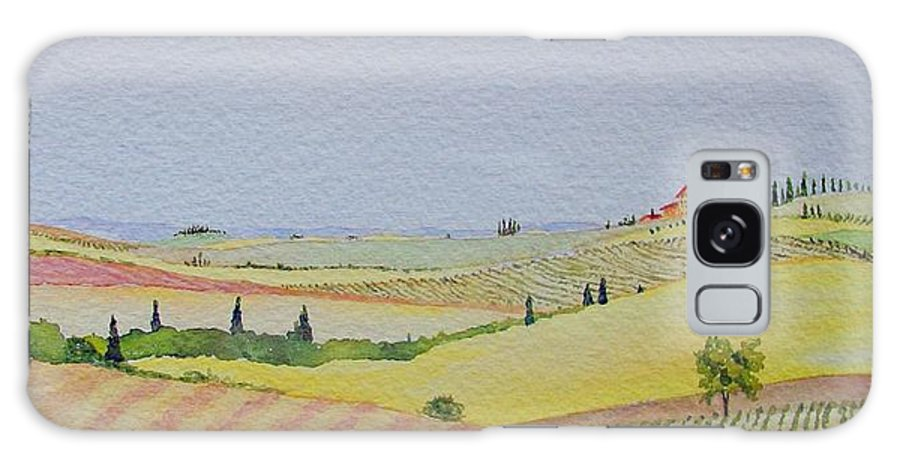 Watercolor Galaxy Case featuring the painting Tuscan Hillside Three by Mary Ellen Mueller Legault