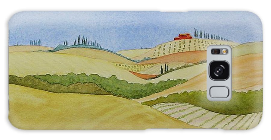 Italy Galaxy Case featuring the painting Tuscan Hillside Two by Mary Ellen Mueller Legault