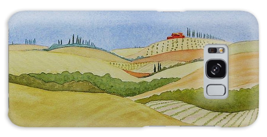 Italy Galaxy S8 Case featuring the painting Tuscan Hillside Two by Mary Ellen Mueller Legault