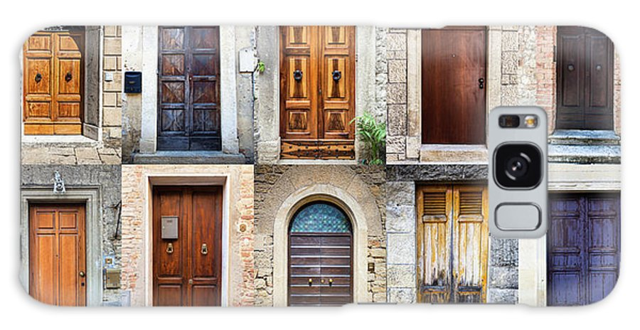Arch Galaxy Case featuring the photograph Tuscan Wooden Doors, Italy by Moreiso