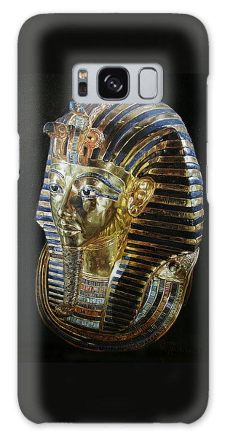 Tutankhamon Galaxy S8 Case featuring the painting Tutankamon's Golden Mask by Leena Pekkalainen
