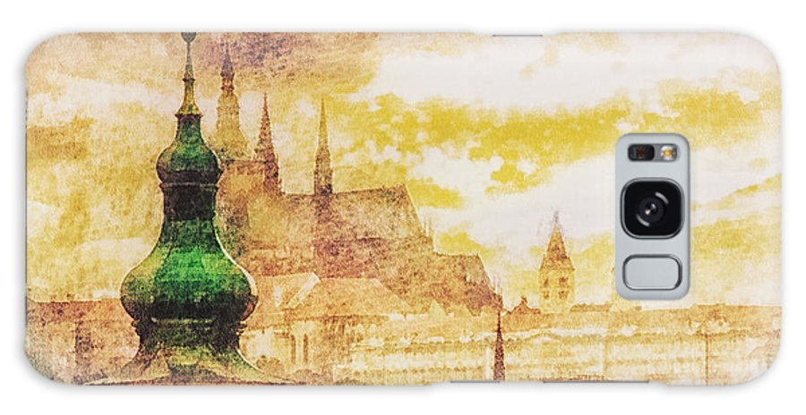 Twilight In Praha Galaxy S8 Case featuring the painting Twilight In Praha by Mo T