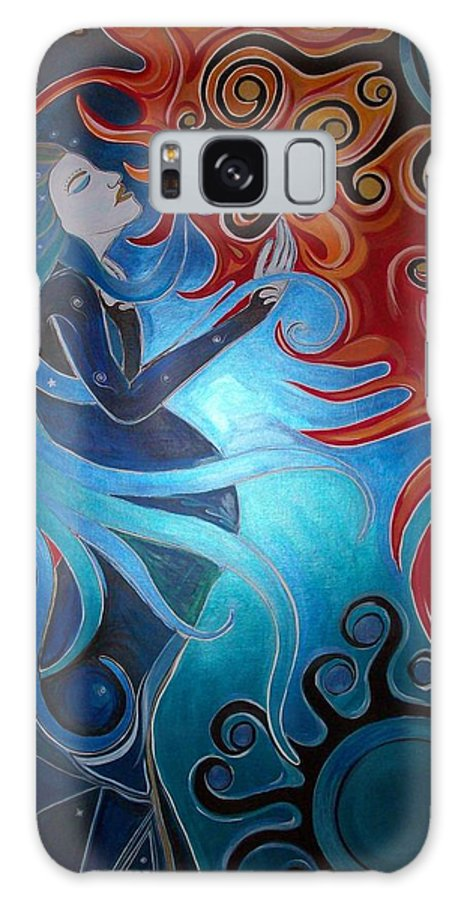 Visionary Galaxy S8 Case featuring the painting Twin Flames by Michelle Grove