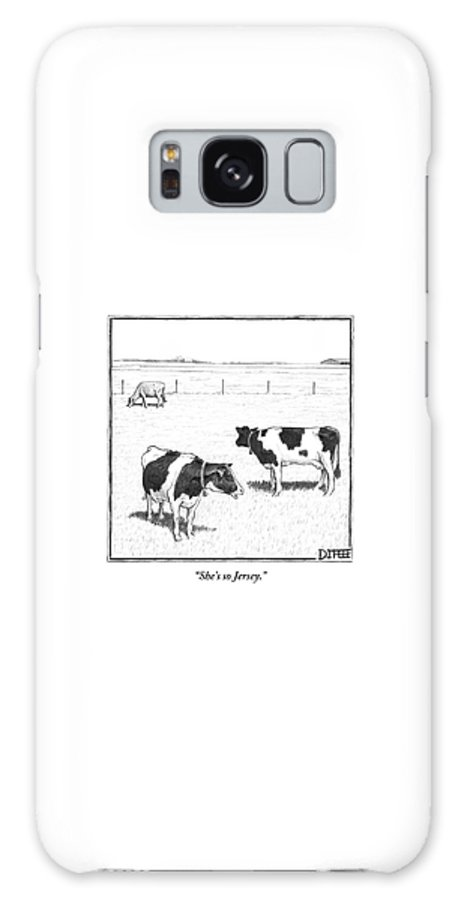 Cows Galaxy S8 Case featuring the drawing Two Spotted Cows Looking At A Jersey Cow by Matthew Diffee