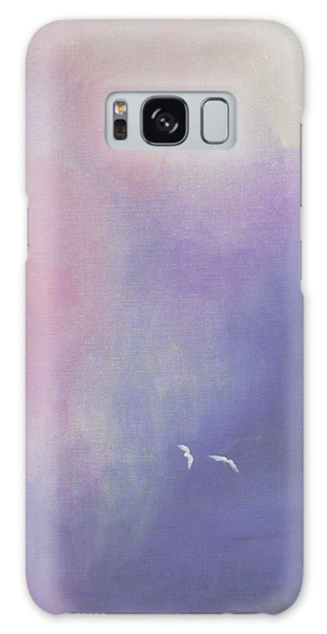 Sky Galaxy Case featuring the painting Two Birds Flying In Ravine. by Christina Rahm Galanis