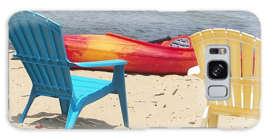2 Chairs On The Beach Galaxy S8 Case featuring the photograph Two Chairs And A Boat by Elinor Helen Rakowski