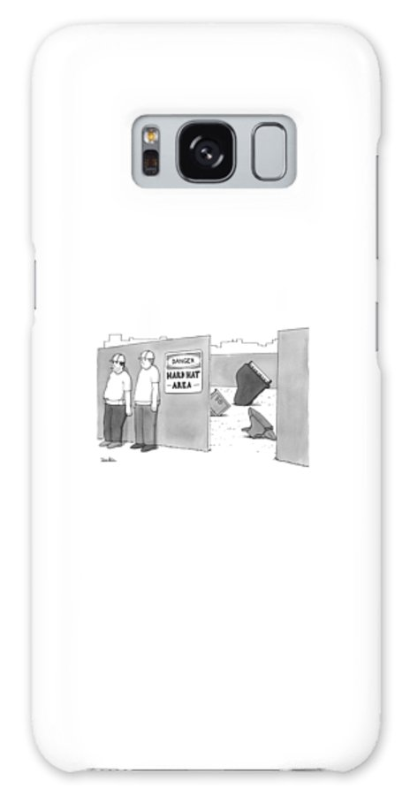 Captionless Galaxy Case featuring the drawing Two Construction Workers Stand Near A Hard Hat by Charlie Hankin