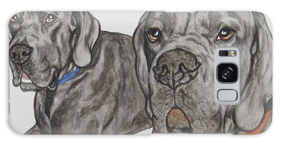 Dog Galaxy S8 Case featuring the painting Two Cool Danes by Megan Cohen