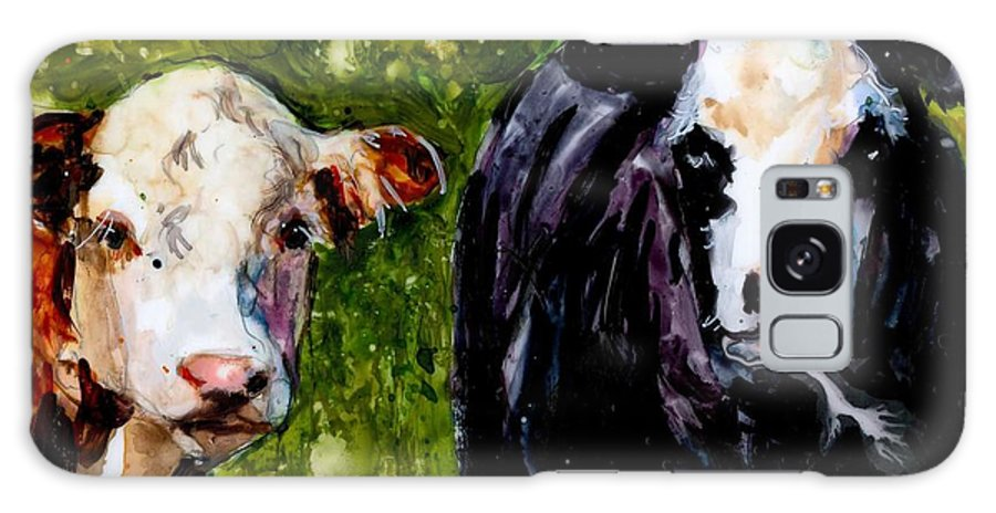 Cows Galaxy S8 Case featuring the painting Two Cows by Molly Poole