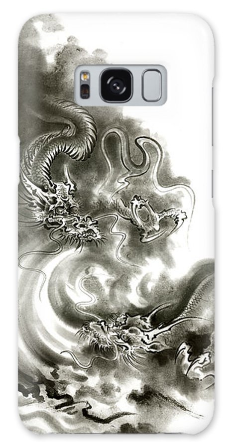 Mariusz Szmerdt Galaxy S8 Case featuring the painting Two Dragons Gold Fantasy Dragon Design Sumi-e Ink Painting Dragon Art by Mariusz Szmerdt