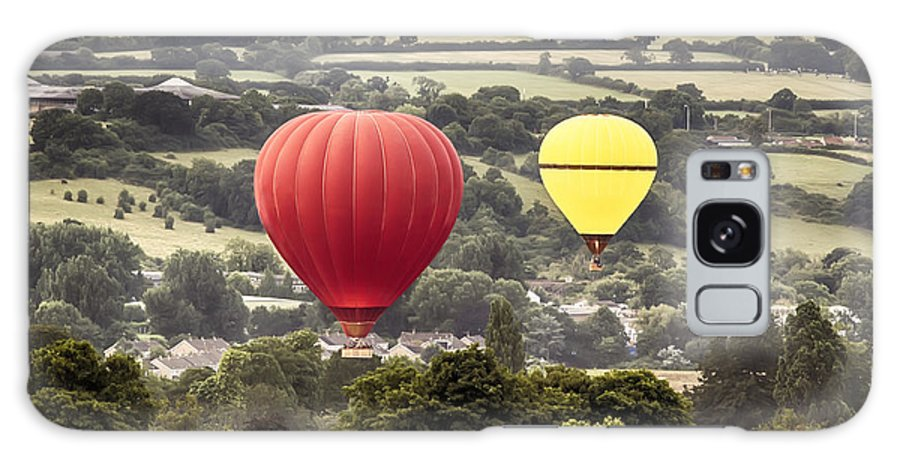 Balloons Galaxy S8 Case featuring the photograph Two Hot Air Baloons Drifting by Simon Bratt Photography LRPS