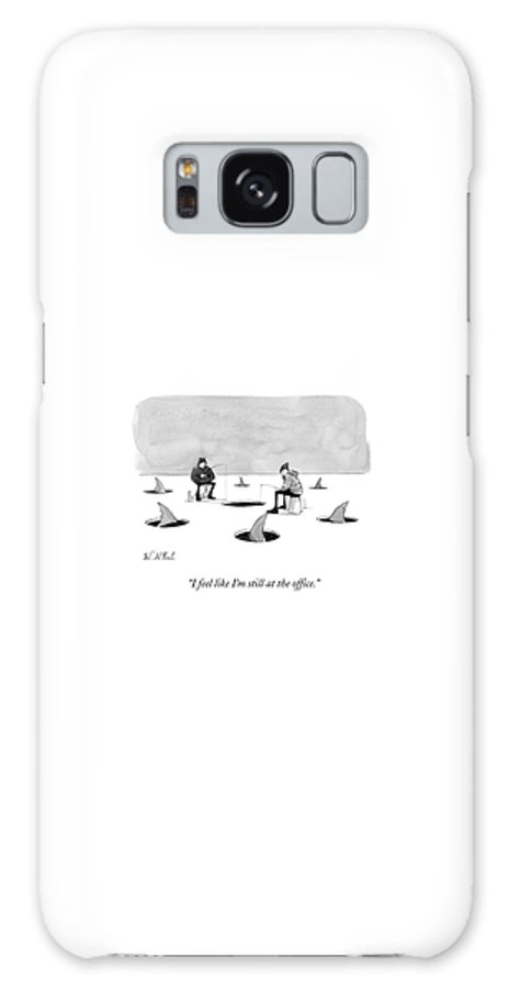 Cctk Ice Fishing Galaxy S8 Case featuring the drawing Two Men Ice Fishing by Will McPhail