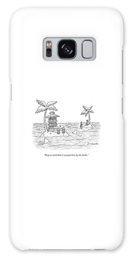 Sharks Galaxy Case featuring the drawing Two Men Stand On A Desert Island by David Borchart