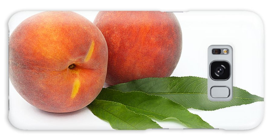 Peach Galaxy S8 Case featuring the photograph Two Ripe Peaches And Leaves by Rosemary Calvert