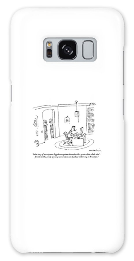 Writers Galaxy S8 Case featuring the drawing Two Women In A Doorway Talk As A Man Writes by Michael Maslin