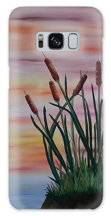 Cattails Galaxy S8 Case featuring the painting Typha by Valorie Cross
