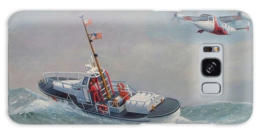 Seascape Galaxy S8 Case featuring the painting U. S. Coast Guard 44ft Motor Lifeboat And Tilt-motor Aircraft by William H RaVell III