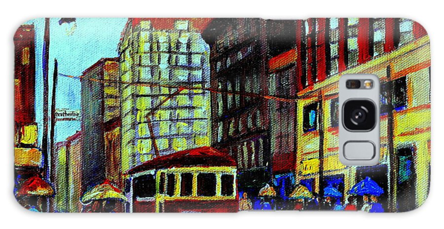 Downtown Montreal City Scenes Galaxy S8 Case featuring the painting Umbrellas In The Rain Couples Stroll St.catherine Street Downtown Montreal Vintage City Scene by Carole Spandau