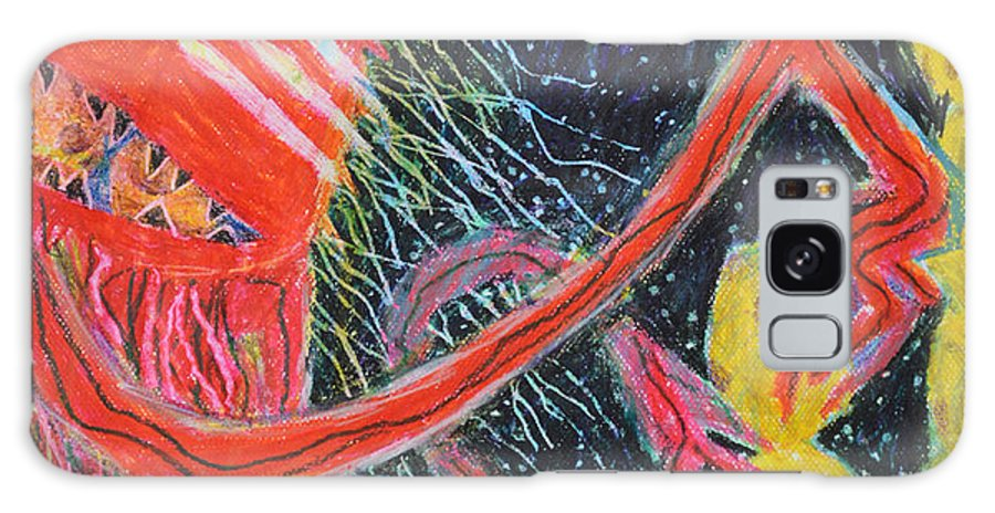 Abstract Outsider Modern Raw Red Yellow Blue Lady Cookies Folk Galaxy S8 Case featuring the painting Unsatiated - Cropped by Nancy Mauerman