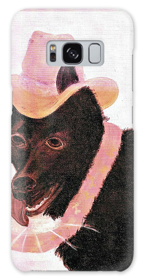 Dog Galaxy S8 Case featuring the painting Untitled Dog With Hat by Brenda L Baker