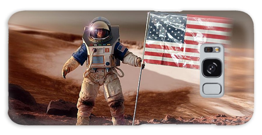 Artwork Galaxy S8 Case featuring the photograph Us Astronaut On Mars by Detlev Van Ravenswaay