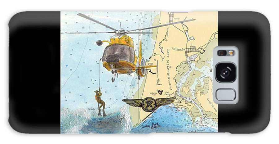 Uscg Galaxy S8 Case featuring the painting Us Coast Guard Rescue Swimmer Nautical Chart Art Cathy Peek by Cathy Peek