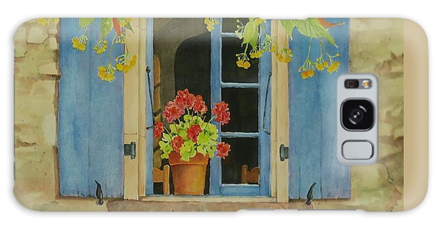France Galaxy Case featuring the painting Vacation Memory by Mary Ellen Mueller Legault