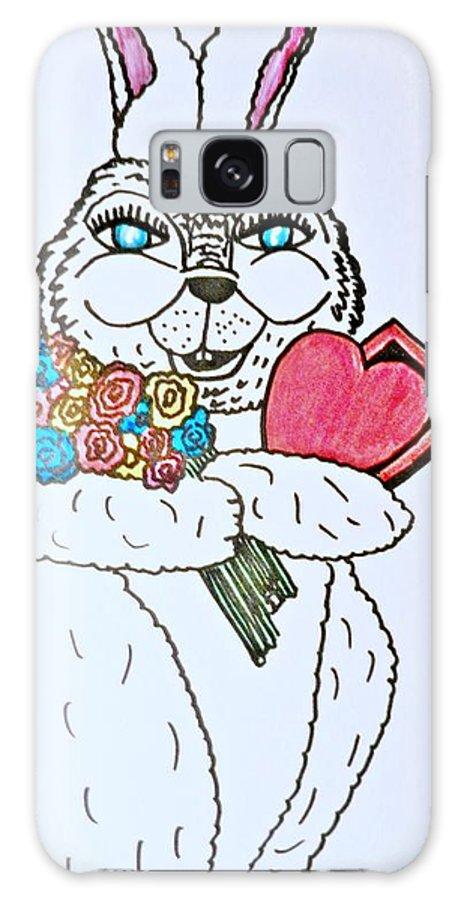 Valentine Galaxy S8 Case featuring the pastel Valentine Bunny Love by Jo-Ann Hayden