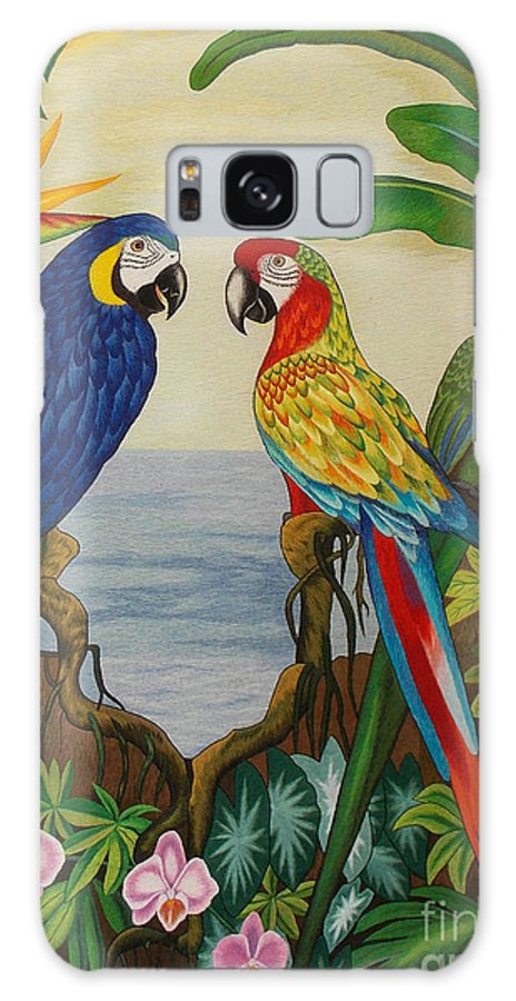 Parrot Galaxy S8 Case featuring the tapestry - textile Valley Of The Wings Hand Embroidery by To-Tam Gerwe