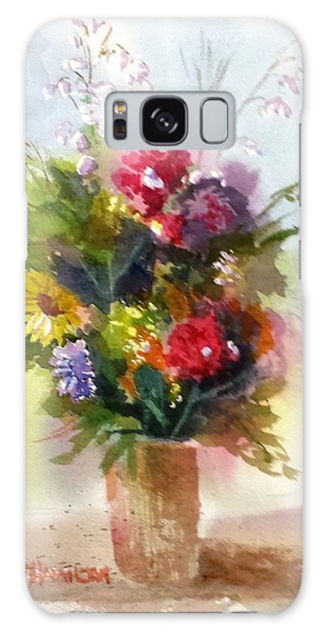Flowers Galaxy S8 Case featuring the painting Vase Of Flowers by Larry Hamilton