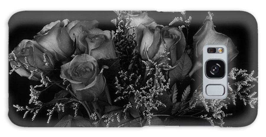 Rose Galaxy Case featuring the photograph Vase of Roses in Black and White by Keith Gondron