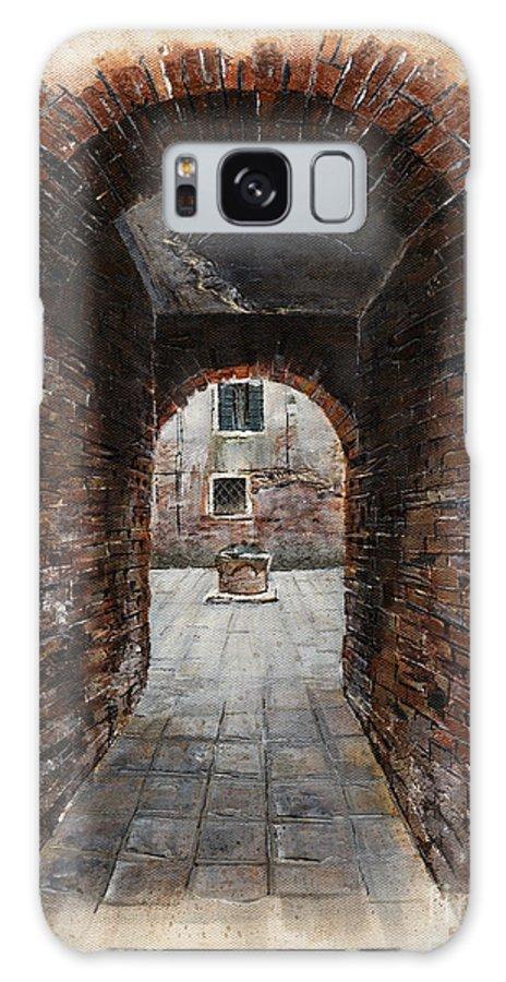 Venice Galaxy S8 Case featuring the painting Venetian Courtyard 01 Elena Yakubovich by Elena Yakubovich