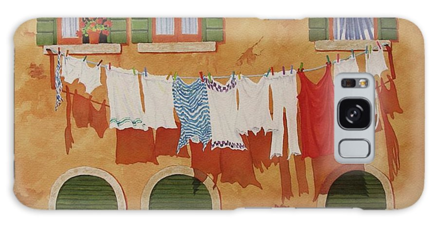 Venice Galaxy Case featuring the painting Venetian Washday by Mary Ellen Mueller Legault
