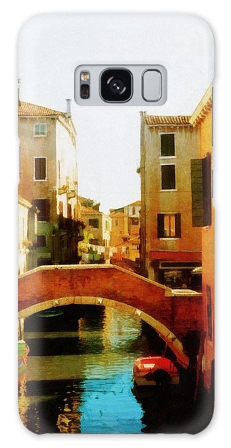 Venice Galaxy S8 Case featuring the photograph Venice Italy Canal With Boats And Laundry by Michelle Calkins