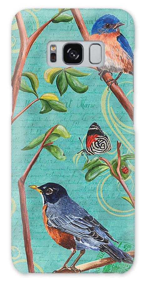 Bird Galaxy S8 Case featuring the painting Verdigris Songbirds 1 by Debbie DeWitt