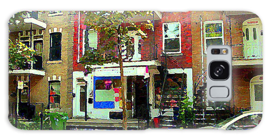 Montreal Galaxy S8 Case featuring the painting Verdun Variety Store Summer Street Scene Montreal Depanneur Double Staircases Carole Spandau by Carole Spandau