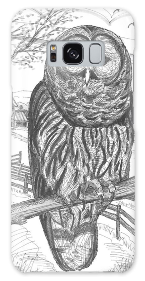 Barred Owl Galaxy S8 Case featuring the drawing Vermont Barred Owl by Richard Wambach
