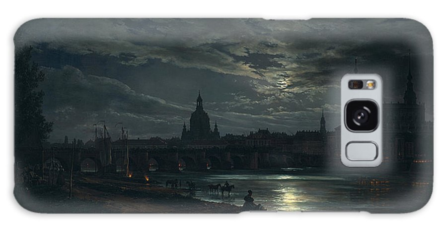 Johan Christian Dahl Galaxy S8 Case featuring the painting View Of Dresden By Moonlight by Johan Christian Dahl