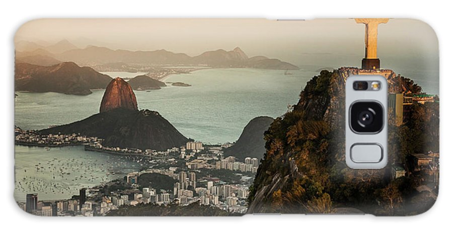 Outdoors Galaxy Case featuring the photograph View Of Rio De Janeiro At Sunset by Christian Adams
