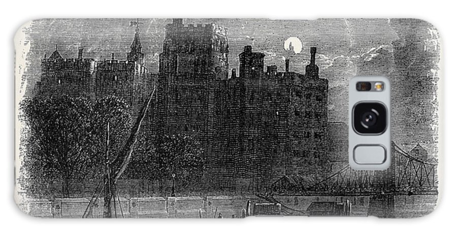 Views Galaxy S8 Case featuring the drawing Views On The Embankment, London, 1870 by English School