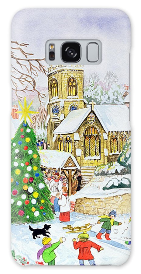 Christmas Tree Galaxy S8 Case featuring the painting Village Festivities by Tony Todd