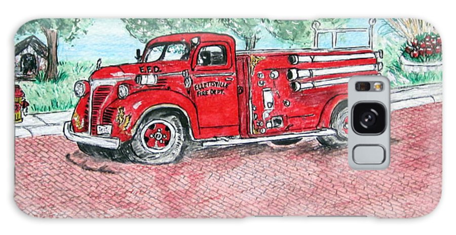 Firetruck Galaxy S8 Case featuring the painting Vintage Firetruck by Kathy Marrs Chandler
