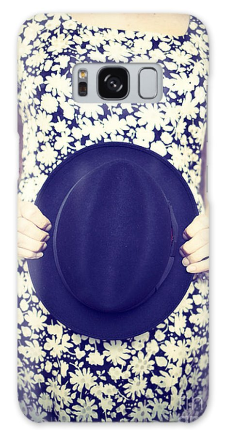 Woman Galaxy S8 Case featuring the photograph Vintage Hat Flower Dress Woman by Edward Fielding