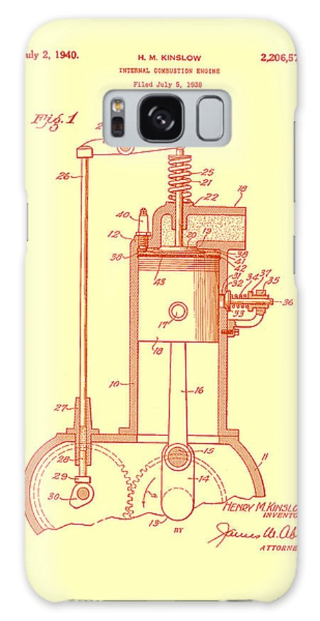 Patent Galaxy S8 Case featuring the drawing Vintage Internal Combustion Engine Patent 1940 by Mountain Dreams