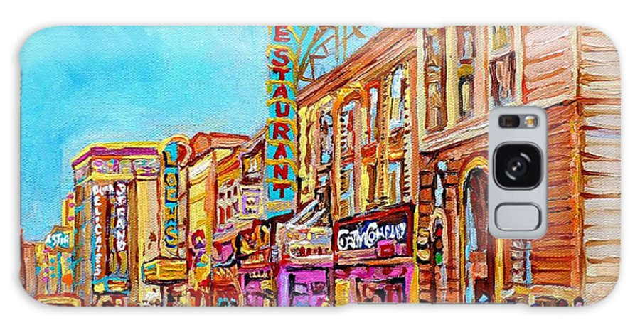 Paintings Of Montreal Galaxy S8 Case featuring the painting Vintage Montreal Street Saint Catherine Street Downtown Summer City Scene Carole Spandau by Carole Spandau