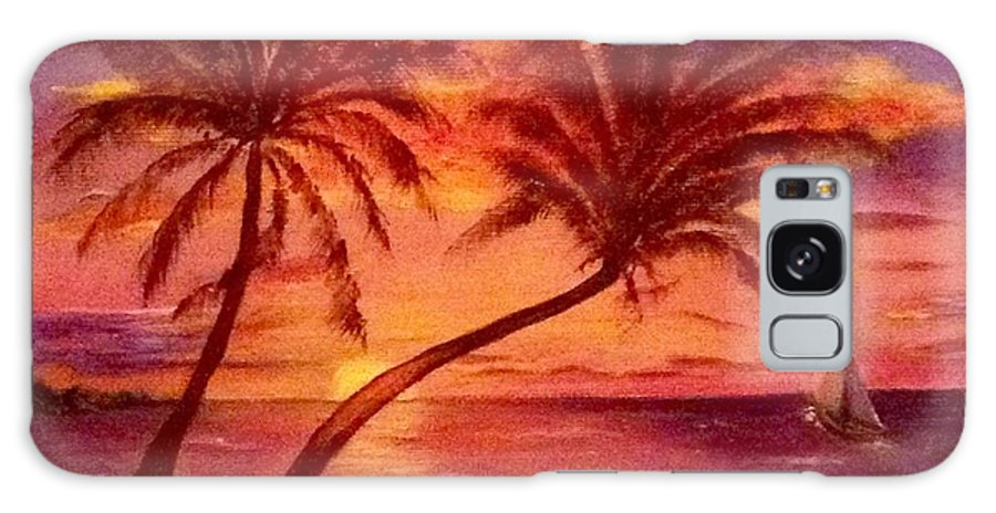 Tropical Galaxy Case featuring the painting Vintage Sunset Sail by Susan Dehlinger